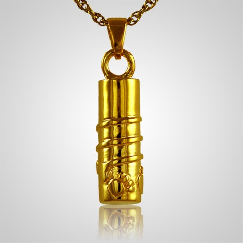 Cylinder with Paws Cremation Jewelry II