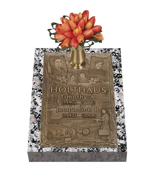 Double Deep Expression Bronze Grave Marker
