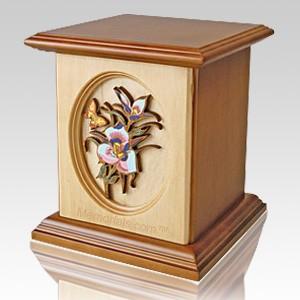 Garden Butterfly Wood Cremation Urn