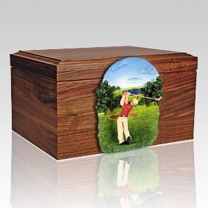 Golfer Figurine Wood Cremation Urn