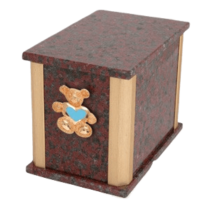 Solitude African Red Teddy Blue Heart Cremation Urn