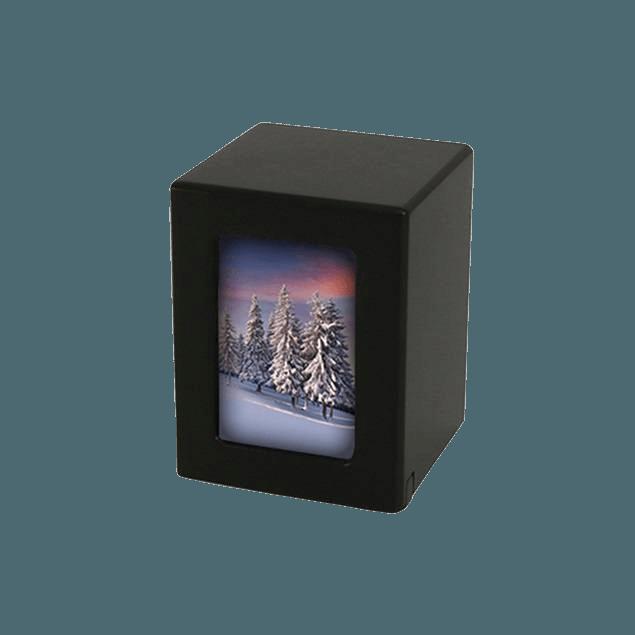 Black Infinity Keepsake Photo Wood Urn