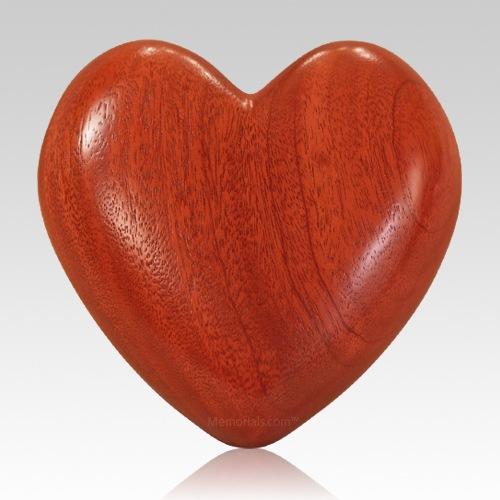 Heart Mahogany Wood Pet Urn