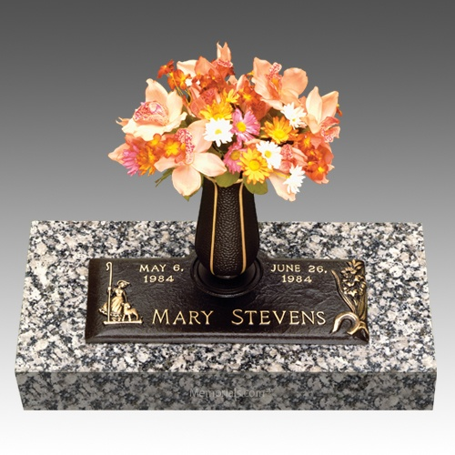 Mary & Lamb Children Bronze Grave Marker