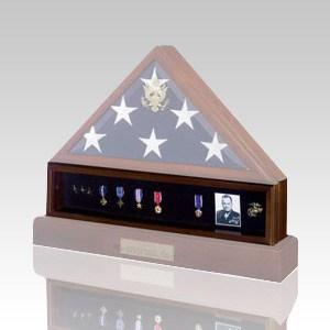 Flag Medal Walnut Display Case