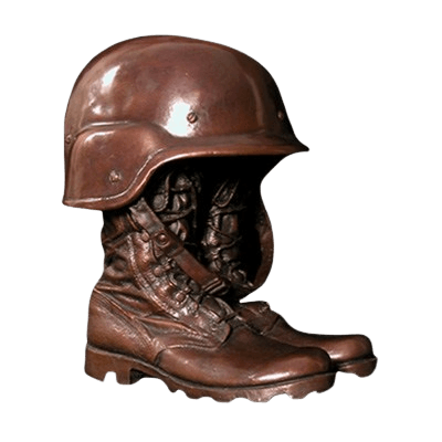 Helmet on Boots Military Cremation Urn
