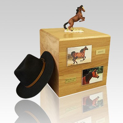 Mustang Brown Full Size Horse Urns