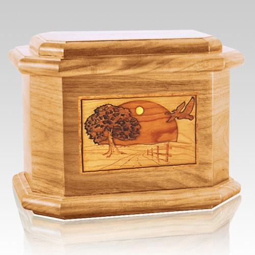 Geese Oak Octagon Cremation Urn