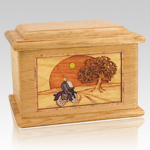 Motorcycle & Moon Oak Memory Chest Cremation Urn