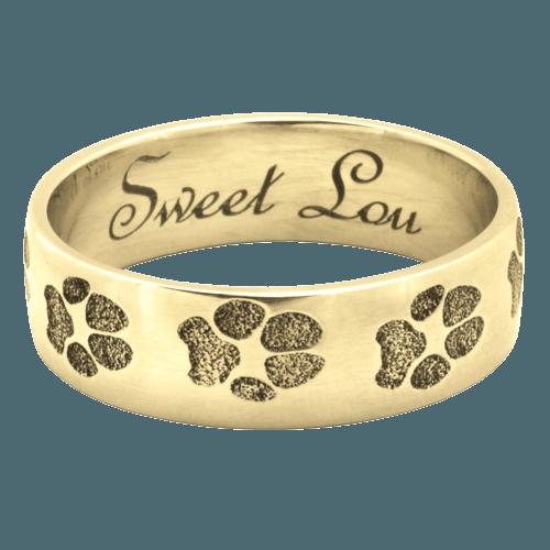 Paw Print 14K Gold Keepsake Ring
