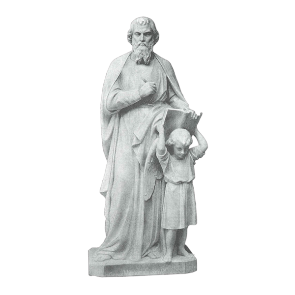 St. Matthew And Girl Granite Statue