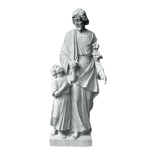 St. Joseph And Little Girl Granite Statue