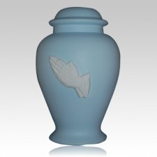 Praying Hands Blue Cremation Urn