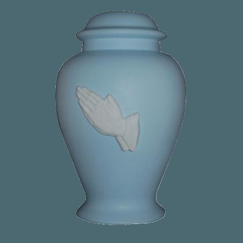 Praying Hands Blue Cremation Urn