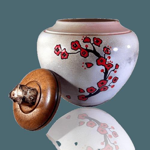 Flower White Cremation Urn