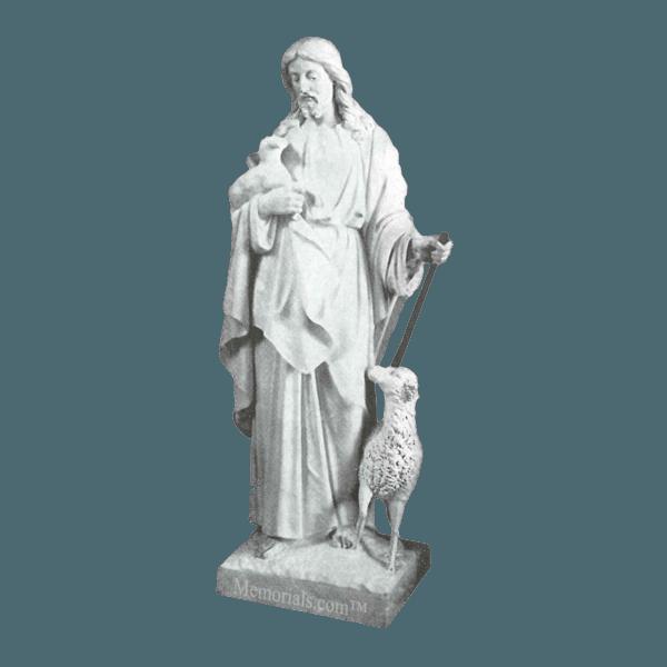 Shepherd And Sheep Granite Statue I