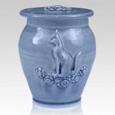 Kitty Cobalt Blue Ceramic Cremation Urn