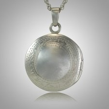 Etched Round Locket Keepsake Jewelry