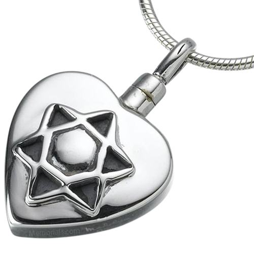 Star of David Heart Keepsake Pendant