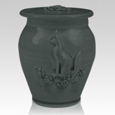 Kitty Stoned Denim Ceramic Cremation Urn