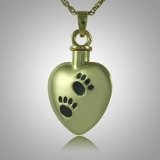Black Pet Paw Print Heart Cremation Jewelry IV