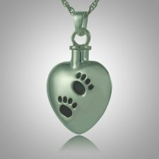 Black Pet Paw Print Heart Cremation Jewelry III