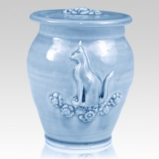 Kitty Sapphire Blue Ceramic Cremation Urn