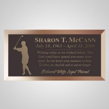 Golfing Woman Bronze Plaque
