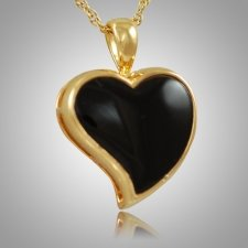 Indented Onyx Heart Keepsake Pendant IV
