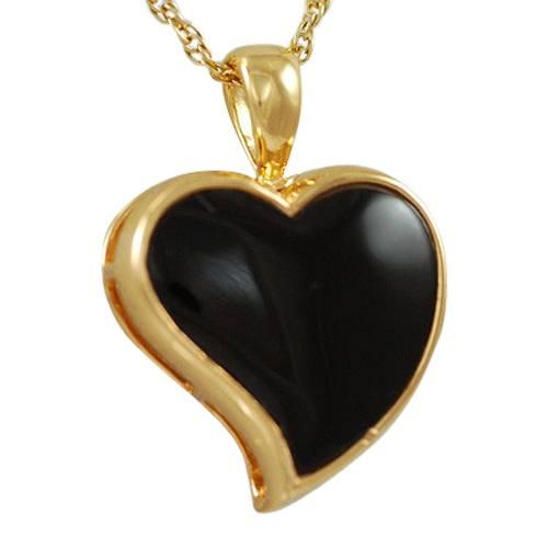 Indented Onyx Heart Keepsake Pendant II