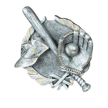 Diamond & Baseball Silver Medallion Appliques