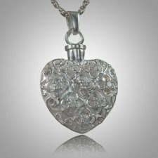 Flower Stone Heart Keepsake Pendant