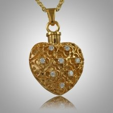 Flower Stone Heart Keepsake Pendant IV