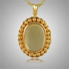 Oval Glass Locket Cremation Pendant IV