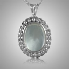 Oval Glass Locket Cremation Pendant III