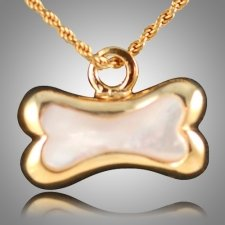 Dog Bone Pearl Cremation Pendant II