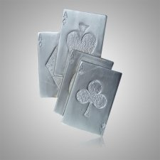 High Cards Silver Medallion Appliques