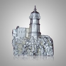 Cliffside Lighthouse Silver Medallion Appliques