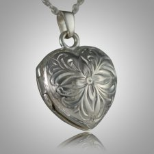 Flower Heart Locket Keepsake Pendant