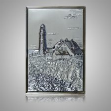 Rocky Shore Lighthouse Silver Medallion Appliques