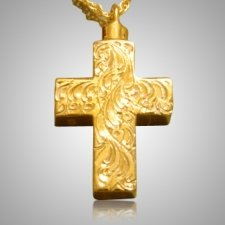 Large Etched Cross Cremation Jewelry IV