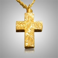 Etched Cross Cremation Jewelry IV