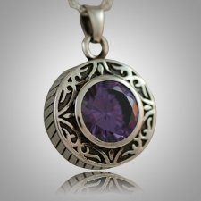 Round Purple Antique Keepsake Pendant
