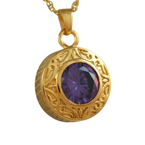 Round Purple Antique Keepsake Pendant IV