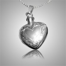 Etched Double Heart Keepsake Pendant