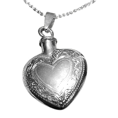 Etched Double Heart Keepsake Pendant