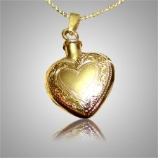 Etched Double Heart Keepsake Pendant II