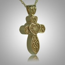Cross with Hearts Keepsake Pendant II