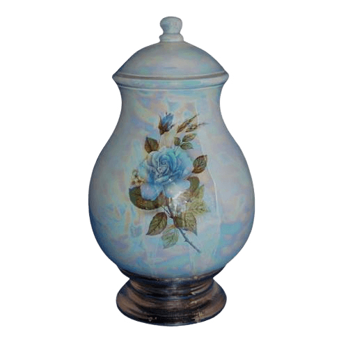 Tivoli Blue Ceramic Cremation Urn