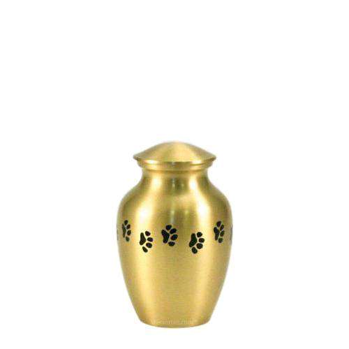 Classic Paw Print Petite Brass Urn